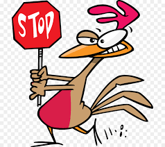 Chicken with stop sign