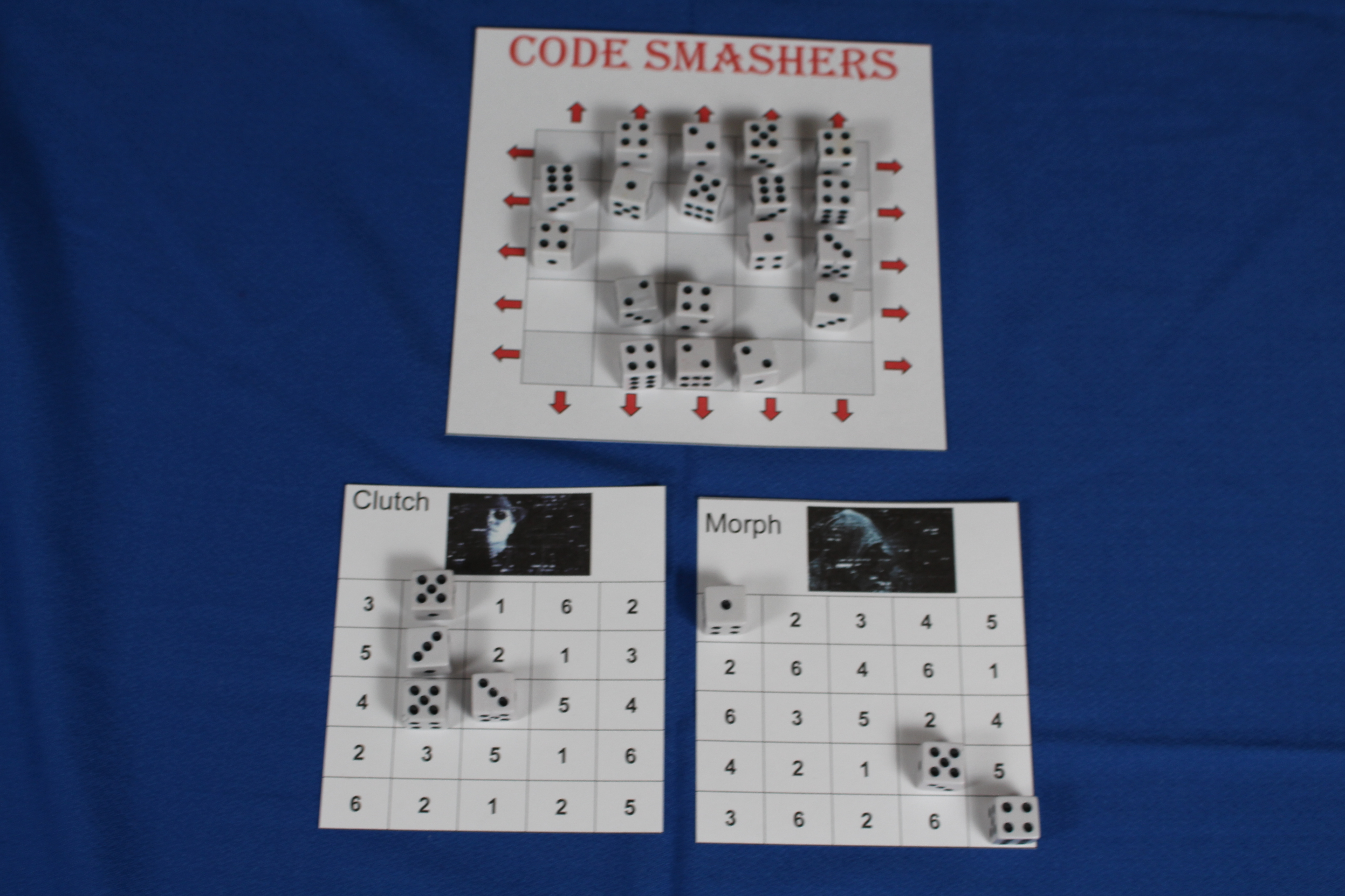 Codes Smashers overhead shot with dice placed