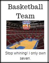 Basketball Team Card